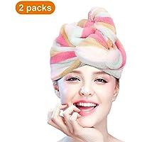 esafio 2 Pack Microfiber Hair Turban Wrap, Quick Dry Hair Towel Wrap Turban - Super Absorbent,Unique Design, Rainbow Color for Women Girl