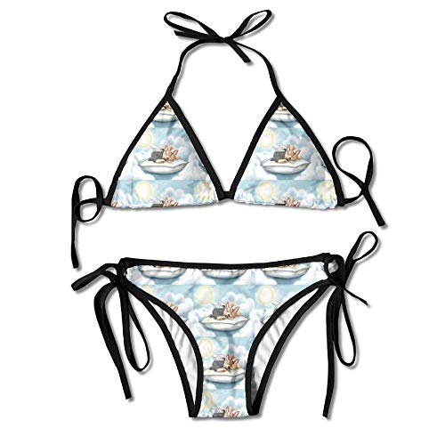 Sliding Top-panels (KLYDH Yorkie Angel Tink Quilt Panel Womens Triangle Top Bikini Swimsuit Sliding Swimwear)