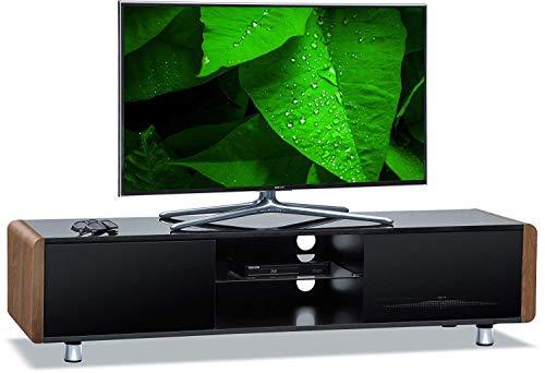 Centurion Supports Capri TV-Schrank für Flachbildfernseher (81,3-65 Zoll), Walnuss-Seiten, Schwarz glänzend -