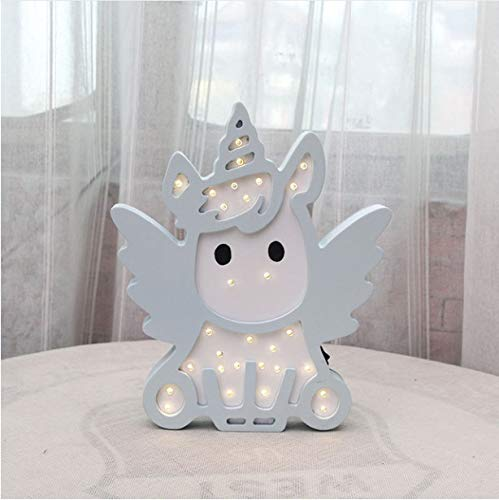 Night Light Pink Blue Color Unicorn Design Battery Power Lovely Switch Bb Glow Night Lamp For Baby Boy Girl