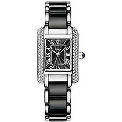 Luxus Rechteck Römische Zahlen Armband-Uhr Kleid-Uhren Strass Legierung Uhrenarmband Armbanduhren Für Damen Mädchen, Schwarz