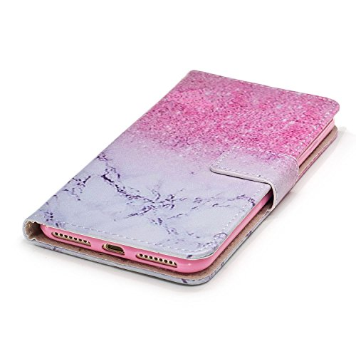 Linvei Hülle für Apple iPhone 7 Plus(5.5 Zoll) -Blumen muster Design/ TPU Silikon Backcover Case Handy Schutzhülle -Pflaumenblütenentwurf Rosa Glitzer und weißes Marmormuster