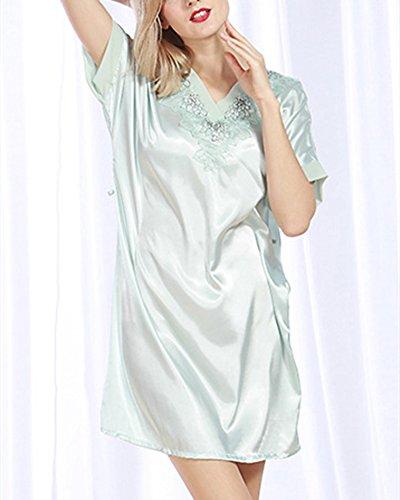 Vestaglia Pigiama in Raso Corta Donna Kimono Camice da Notte Night con Cintura Gomma Rosso Azzurro chiaro
