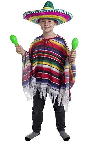 KINDER KOSTÜM-PONCHO MIT MEXIKO JUNGEN SOMBRERO, MIT WEISSEN POMPOMS WILD WEST BANDIT KID VON ILOVEFANCYDRESS ®