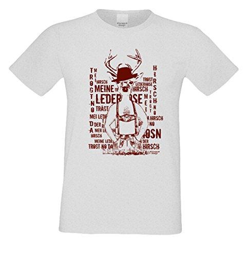 Herren-Trachten-Wiesn-Dult-Motiv-T-Shirt :-: Meine Lederhose lustiger Hirsch :-: Volksfest Oktoberfest Party Outfit :-: auch in Übergrößen 3XL 4Xl 5XL grau-04