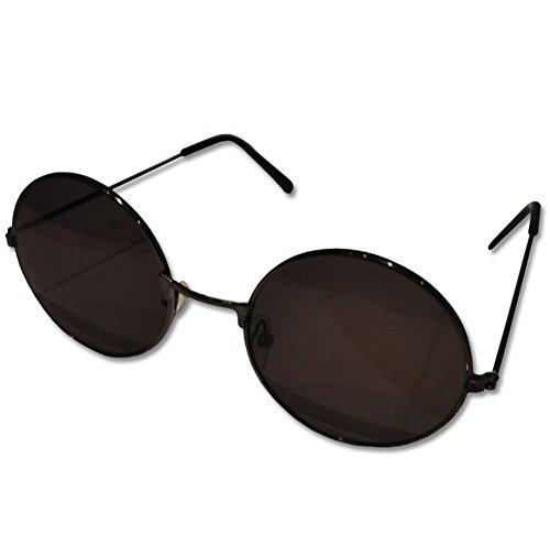Rund John Lennon Style retro Sonnenbrille schwarz