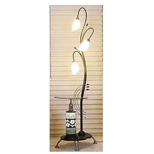Glas 3-licht-arc (FENG LIAN Kreative Schmiedeeisen-Blumen-Stehlampe, modernes minimalistisches Wohnzimmer mit Couchtisch-Stehlampe, Schlafzimmer-Ecksofa-kreative Schönheits-Stehlampe Stehendes Licht)