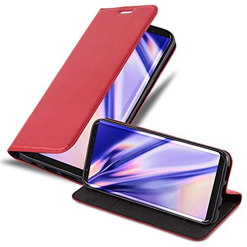 Cadorabo Hülle für Samsung Galaxy S8 - Hülle in Apfel ROT - Handyhülle mit Magnetverschluss, Standfunktion und Kartenfach - Case Cover Schutzhülle Etui Tasche Book Klapp Style