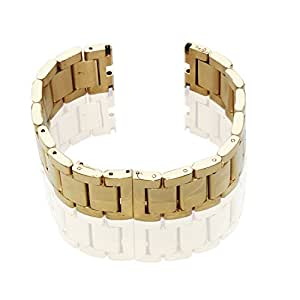 GOOQ Steel Stainless Bracelet Metal Gold Watchband Fit for Moto 360 Smartwatch Motorola Moto 360 Watch Band Plus Free Stainless Spring Bar Tool and Screen Protector for Moto 360 Wristband (Gold Without Push Button)