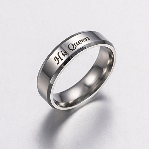 Outflower 1 Stück Ring Für Liebhaber Paar, Her King/His Queen Stahlring Ehering Ringe Schmuck Für Valentinstag/Geburtstag/Jahrestag 51mm