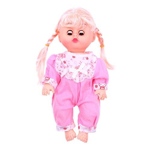 Gaddrt Spielzeug Puppe Reise Cute Baby Doll Spielset mit blinkenden Augen Bewegliche Arme und Beine Simulationstöne Kinder Spielzeug 9.5x4.8x2.8 in (Rosa) (Reise-baby-puppe)