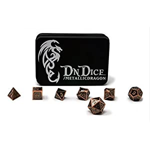 Metallic Dragon – Solid Metal Poly Dice Set By DnDice – Available in Gold, Silver, Copper with Dragon Insignia Presentation Tin