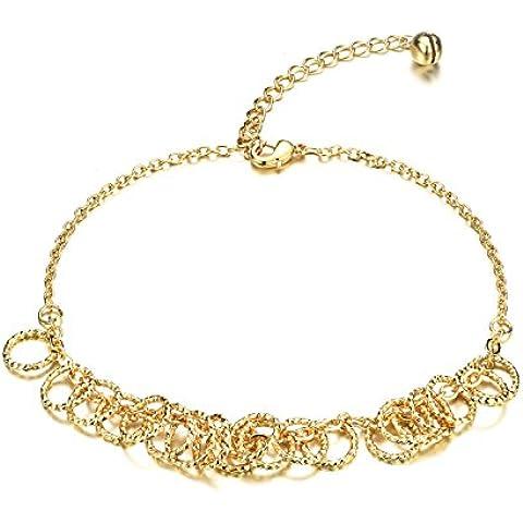 M. Jvisun 18K chapado en oro de múltiples círculo caliente las mujeres playa tobillera Pulsera Enlace Cadena, oro,