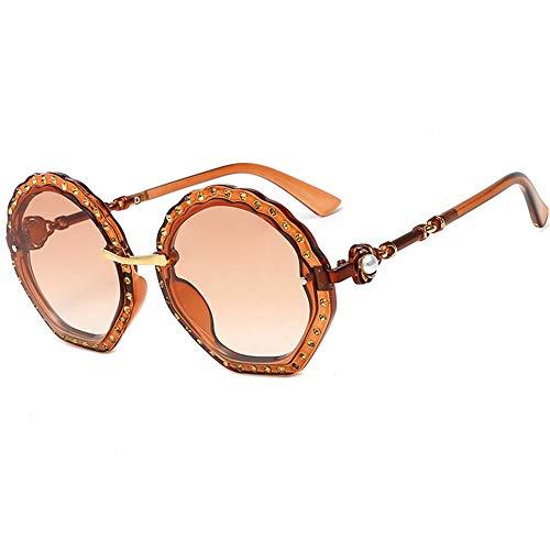 WAYAOZJ Bling Bling Brille, Runde übergroße Strass Sonnenbrille Vintage Retro Runde Sonnenbrille Beach Party Damen Spiegelglas,C6