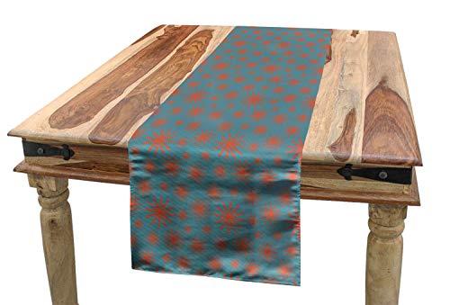 YANAN Blumen Tischläufer Vintage 50er Jahre inspiriert Esszimmer Küche Rechteckiger Dekorativer Tischläufer 36 x 225 cm Benzinblau Dunkle Koralle