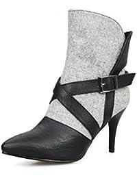 AllhqFashion Damen Gemischte Farbe Niedriger Absatz Blend-Materialien Reißverschluss Stiefel, Weiß, 34