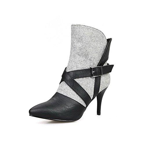 AllhqFashion Damen Metalldekoration Blend-Materialien Stiletto Ziehen Auf Stiefel Grau