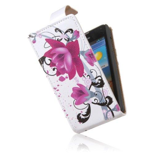tinxi® Kunstleder Tasche für Huawei Ascend Y300 Tasche Schutzhülle Flip Case Schale Etui Cover lila Blume