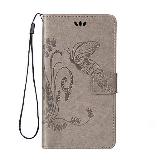 Ekakashop kompatibel mit HTC One M8 Leder Tasche,kompatibel mit HTC M8s Hülle Retro Design Bookstyle Magnative Handytasche Ledertasche Silicone Etui Handy Hülle Schutzhülle Wallet Case [Grau],EINWEG