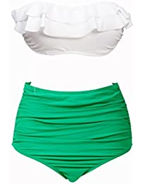 QHGstore BKN el pecho abrigo de talle alto traje de ba?o blanco de la cubierta de la banda verde del bikini de color Multi Doble L