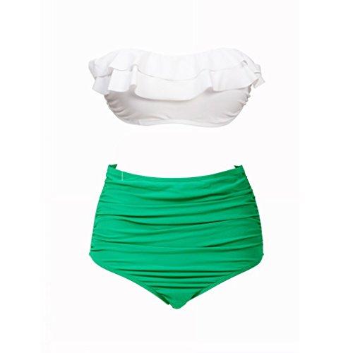 QHGstore BKN involucro della cassa vita alta costume da bagno White Cover Verde Banda Fold Bikini Multi colore M