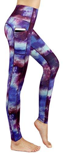 Munvot Schön Galaxy Printed Sport Leggings Damen Blickdichte Leggins Training Tights Hohe Taille Strumpfhose Bunt Leggins für damen mit Tasche, Lila Sterne, Gr. M