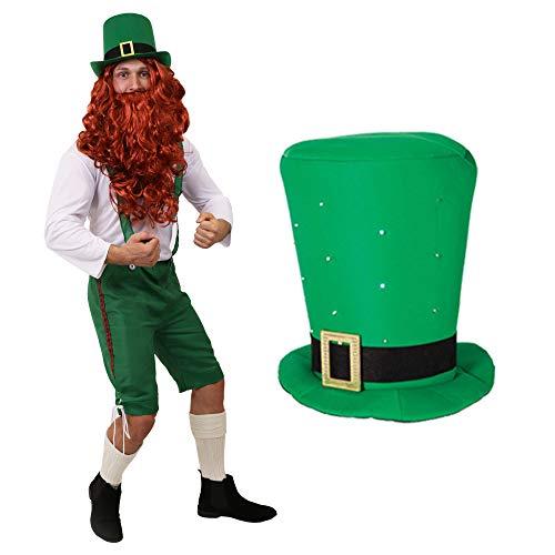 ILOVEFANCYDRESS KOSTÜM VERKLEIDUNG GLÜCKSBRINGER Kobold ST Patricks Day Leprechaun Irland=GRÜNE 3/4 Latzhose+WEISSES Oberteil+ROTE PERÜCKE+BART+Blinkender Schaumstoff ()