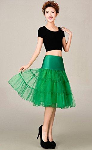 FEOYA 50er Jahre Vintage Petticoat Reifrock Retro Unterrock Underskirt Wedding Bridal Petticoat für Rockabilly Kleid in Mehreren Farben Grün
