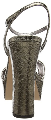La Strada Pewter cracked leather look sandal Damen Offene Sandalen mit Blockabsatz Grau (1444 - cracked pewter)