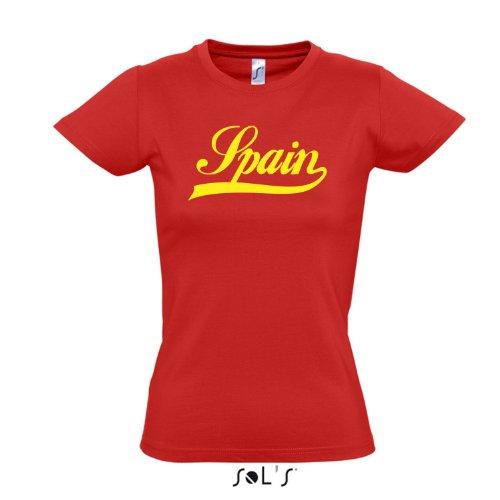 Damen T-Shirt - Spanien Oldschool Spain LÄNDERSHIRT EM / WM FAN Trikot S-XXL , red - gelb , XXL