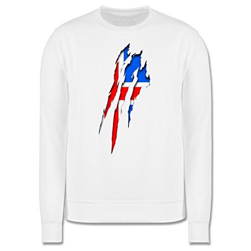 Länder - Island Krallenspuren - Herren Premium Pullover Weiß