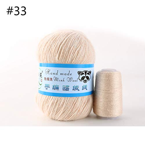YFairy - 50 g, hilo de punto, 1 pieza, lana de visón suave, tejida a mano, lujosa bufanda de ganchillo de cachemira tejida, bufanda de ganchillo 33