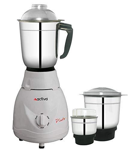 ACTIVA Pluto PRO 3 Jars 500 WATTS Full ABS Body Mixer Grinder (White)