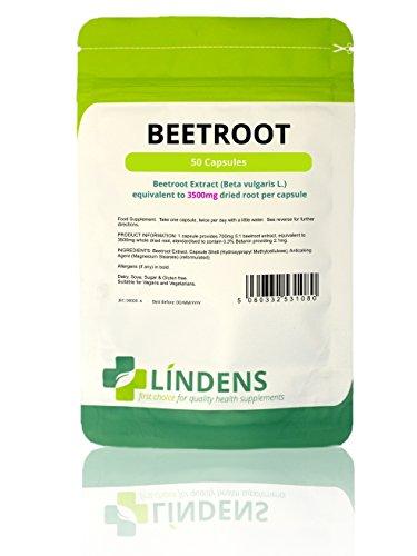Lindens Remolacha superresistencia 3500 mg en cápsulas | 50 Paquete | Una fuente de nitratos dietéticos en una cápsula de liberación rápida y fácil de tragar