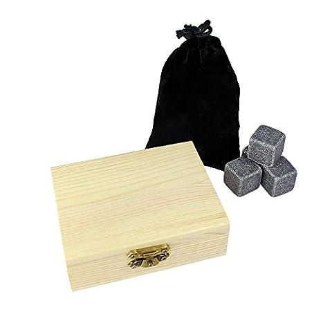 Pierres de Whisky dans belle boîte en bois - Standard - 9 pierres rafraîchissantes pour whisky avec boîte de rangement incluse - Glaçons réutilisables en granit - Idée cadeau originale