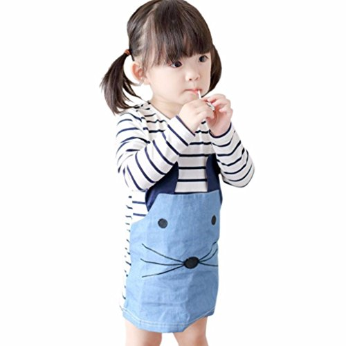 Amlaiworld Kinder, die Mädchen Streifen Maus Denim Kleid lange Ärmel Kleid Kleidung (120, blau) (Denim-knie-shorts)