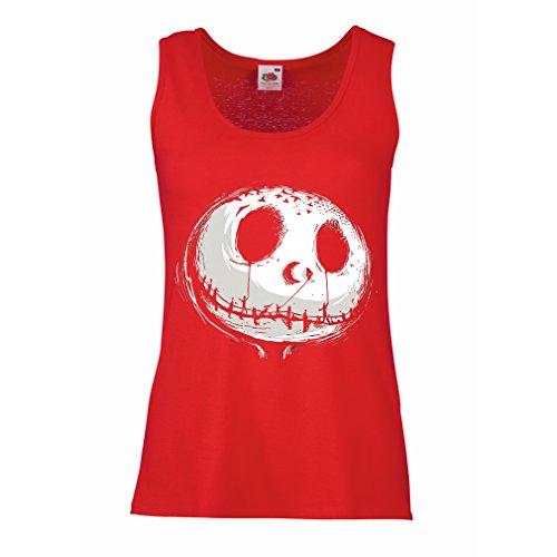Top beängstigend Schädel Gesicht - Alptraum - Halloween-Party-Kleidung (Large Rot Mehrfarben) ()