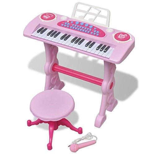 Festnight Kinder Keyboard Spielzeug mit 37 Tasten Kunststoff Kinderpiano inkl. Mikrofon und Hocker für Kinder ab 3 Jahren - Rosa
