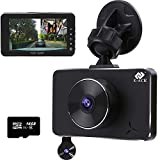 E-ACE Dash Cam Dual Lens FHD 1080p Car Video Recorder in Car Dashboard with Two Cameras 360 Degree with Night Vision, G-Sensor, Loop Recording,WDR,Parking Monitor with 16GB TF Card [Alloy Shell]