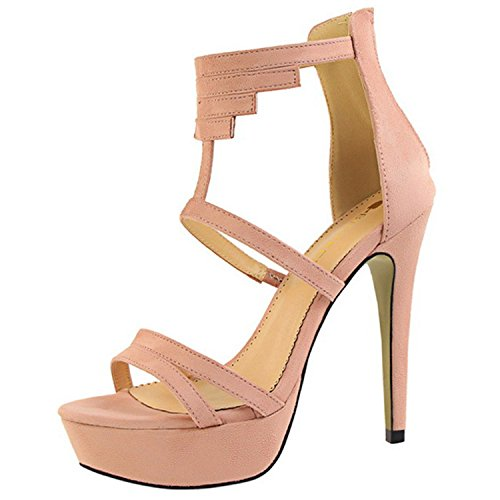 Oasap Women's Solid Open Toe Stiletto Gladiator Sandals Pink