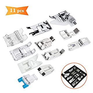 Sewing Machine Feet-XCOZU 11 PCS Sewing Machine Presser Set with Zipper Foot Roller Foot for Brother JANOME Singer Toyota Sewing Machines