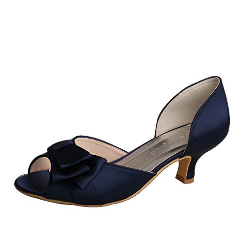 Wedopus Lady Open Toe Low Heel Bogen Abschlussball Satin Abend Party Bridal Court Schuhe Gr??e 41 Marine - Marine-peep-toe-heels