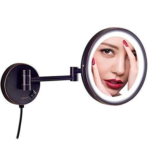 Espejos de maquillaje LED montados en la pared, espejos de tocador giratorios...