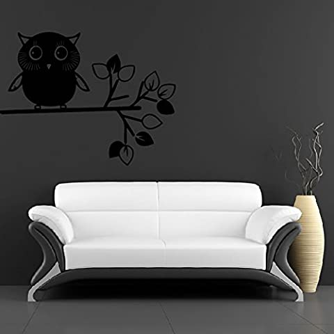 Bambino Owl On Branch Wall Sticker Natura Adesivo Art disponibile in 5 dimensioni e 25 colori Extra Grande Turchese