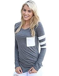 Chemise Femme, Kolylong® Femmes Manches Longues Col Rond Splice Shirt Blouse Tops T-Shirt