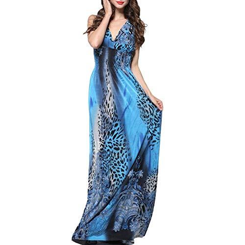 EUTUOPU Women's V Neck Maxi Sleeveless Leopard Printed Beach Bohemian Dress Plus Size (Blue) -