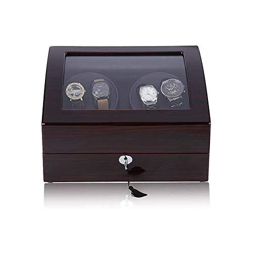 Moozic Automatische Uhrenbeweger Box, Drehen Uhrenbeweger 4 + 6 Lagerung Schmuckschatulle Uhrengehäuse mit Netzteil,Braun