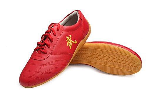 Jinji, Unisex-Schuhe für Erwachsene, für Tai-Chi, Wu Shu, Kung-Fu, Basisschuhe für tägliches Training, morgendliche Übungen, Rot - rot - Größe: 45 EU  (Adidas-basketball-frau-schuhe)