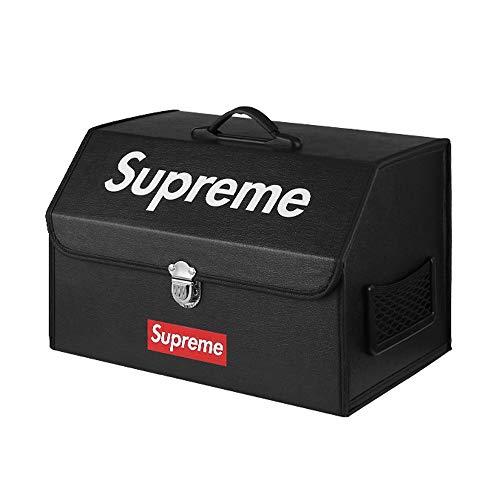 PU-Leder-Auto-Aufbewahrungsbox mit Einem Griff, Faltbare Kofferraum-Aufbewahrungsbox - Kofferraum-Organizer mit Verschlussschnalle für Auto, SUV, Minivan, LKW und Innenanwendungen (Color : Black A)