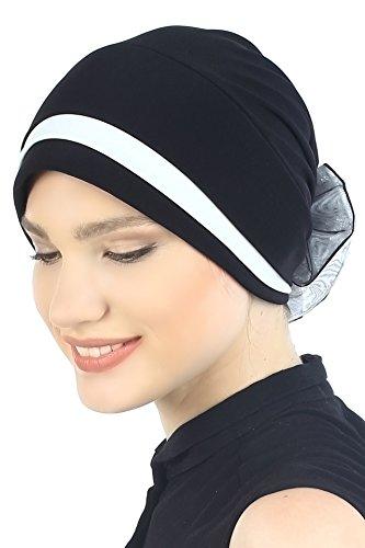 Deresina Headwear Gepolsterte und Gefalteter Kopfbedeckung (Schwarz/Cream)